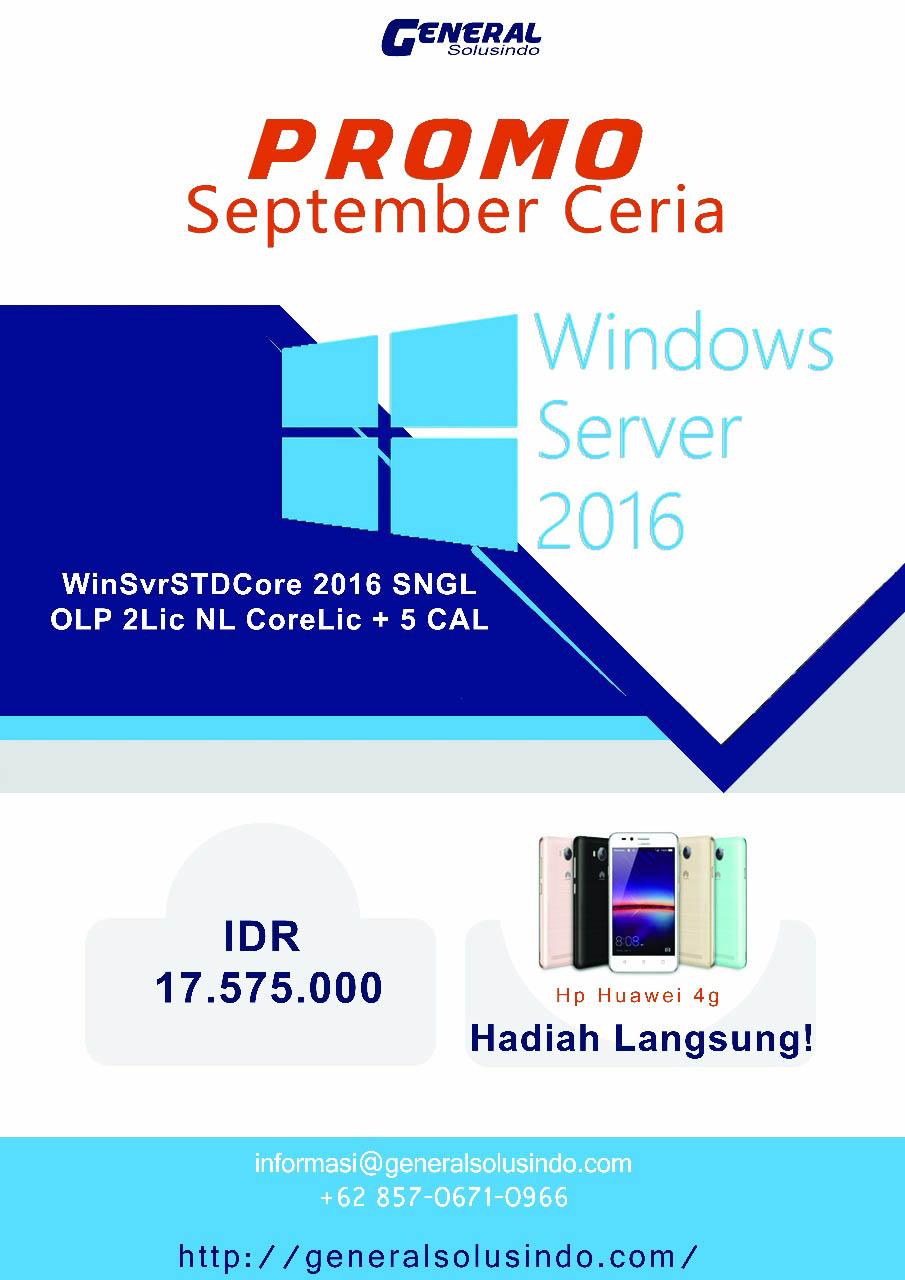 Jual Microsoft Windows Server 2016 versi Standard Core Single OLP 2 Lincensi NL 8 core Licensi 5 cal