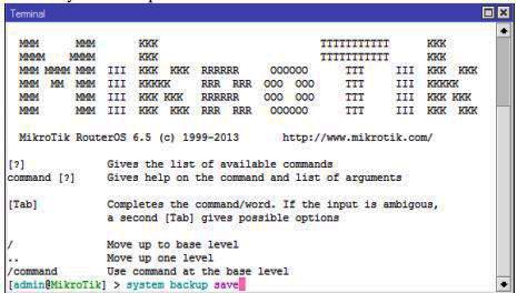 Backup Konfigurasi pada Mikrotik ketik system backup save