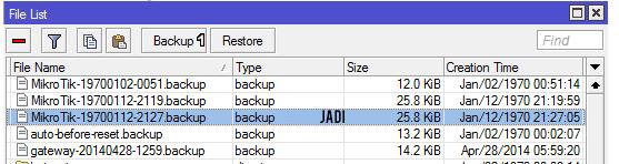 Backup Konfigurasi pada Mikrotik mengunakan gui selesai